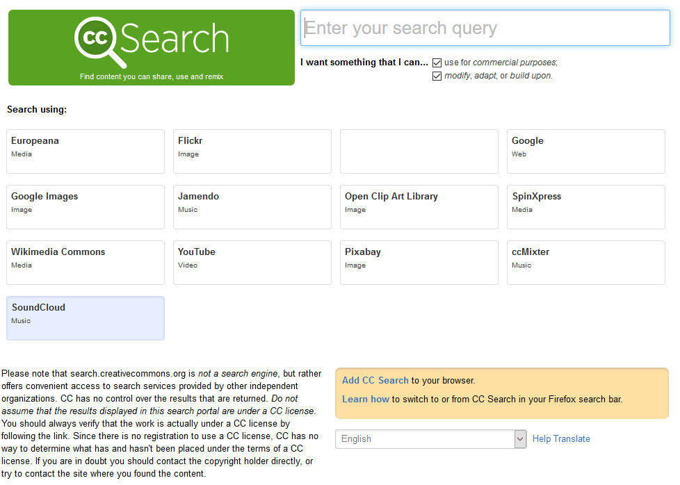 Creative Commons Search Page