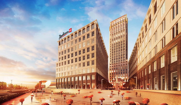Mock-Up of the Radisson RED Hotel in Krakow