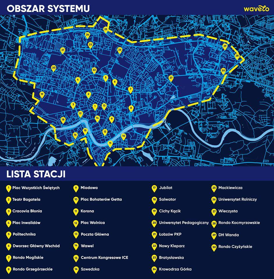 A map of existing Wavelo bicycle rental hubs in Krakow
